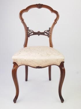 Pair Victorian Walnut Balloon Back Chairs