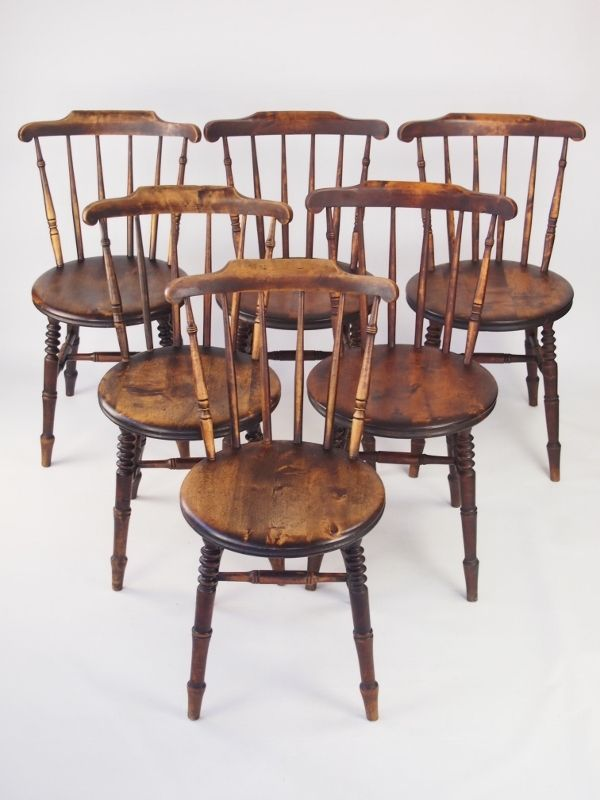 Ibex Kitchen Chairs - Harlequin Set 6 Antique Pine Kitchen Chairs - Six Ibex Chairs -