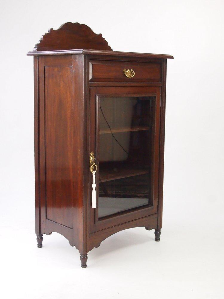 Antique Edwardian Music Cabinet Walnut Bookcase Small