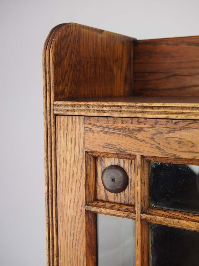 Antique Edwardian Oak Bookcase Arts Crafts Slim Hall