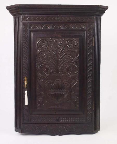 Antique Carved Oak Corner Cupboard