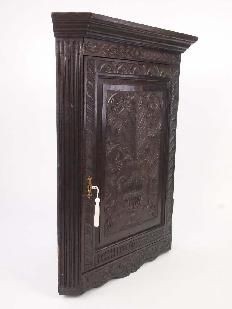 Georgian Oak Corner Cupboard With Later Carving