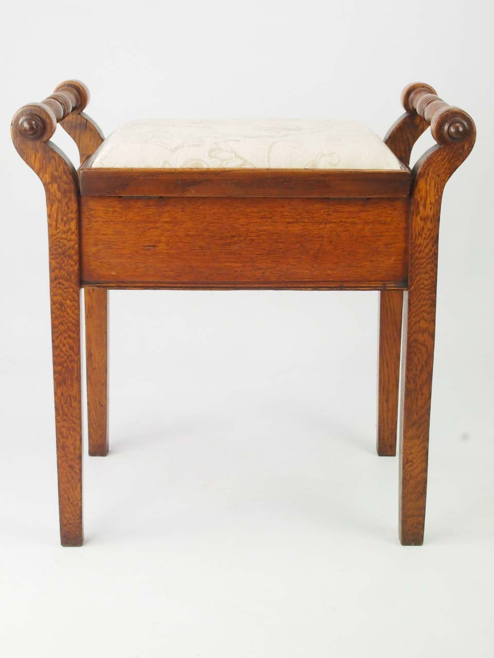 Antique Edwardian Oak Piano Stool For Sale