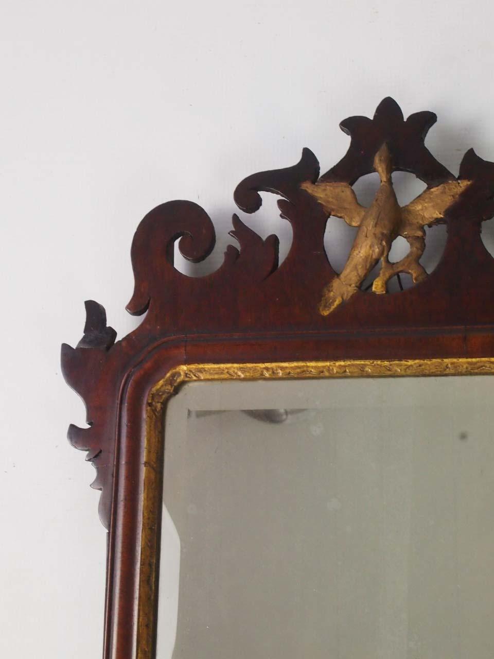Antique Georgian Mahogany Fretwork Mirror Chippendale