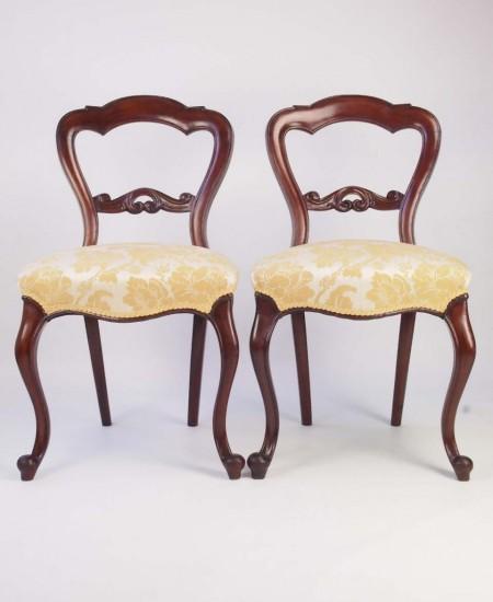Pair Antique Victorian Balloon Back Chairs
