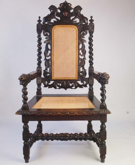 Antique Victorian Gothic Throne Chair