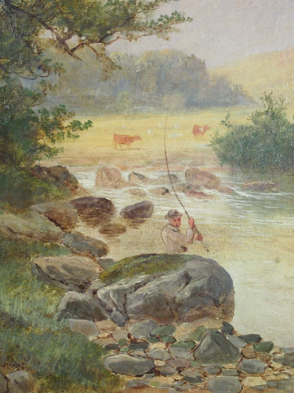 Antique Henry W Henley Oil Painting North Wales For Sale