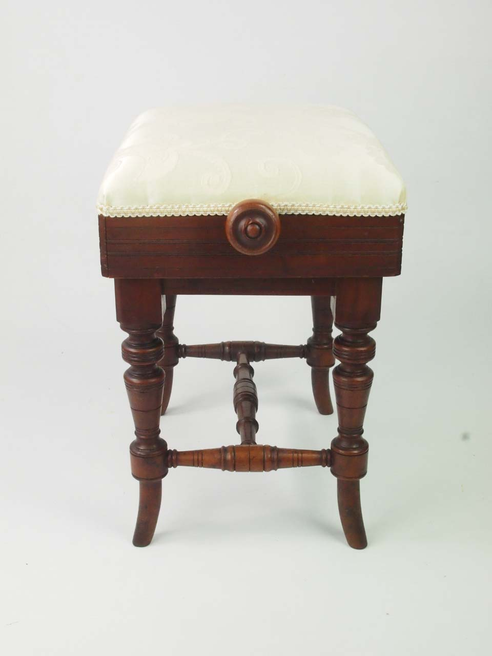 Antique Victorian Rise And Fall Piano Stool With Makers