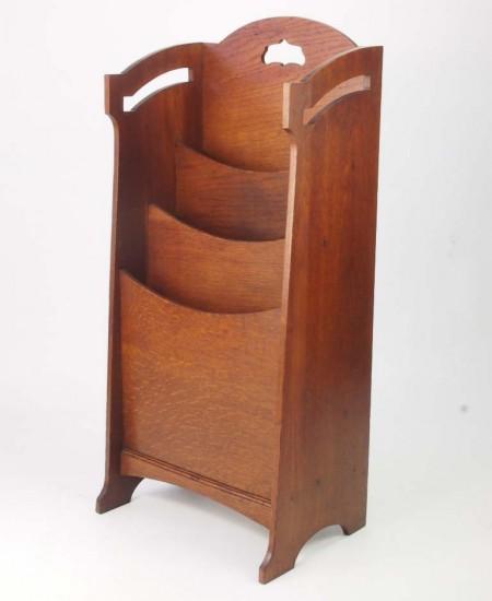 Antique Edwardian Arts Crafts Newspaper Stand