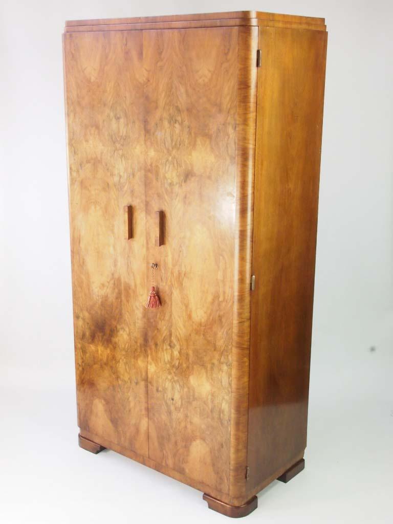 Art Deco Walnut Gentlemans Wardrobe For Sale