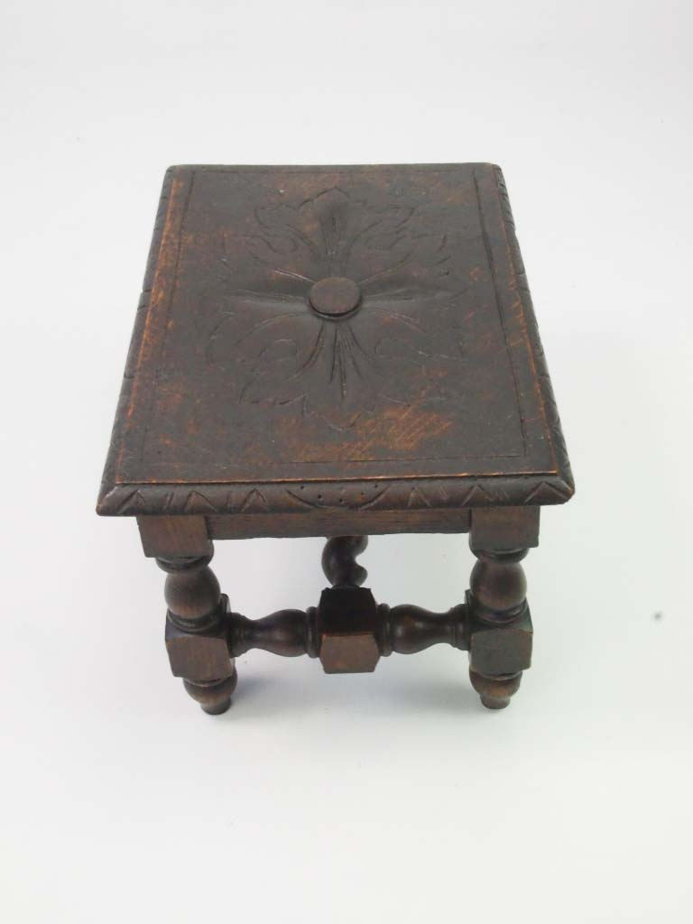 Small Antique Victorian Gothic Footstool For Sale