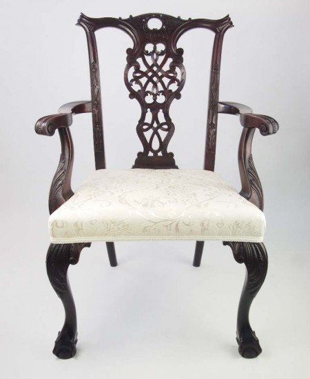 Antique Victorian Chippendale Revival Desk Chair
