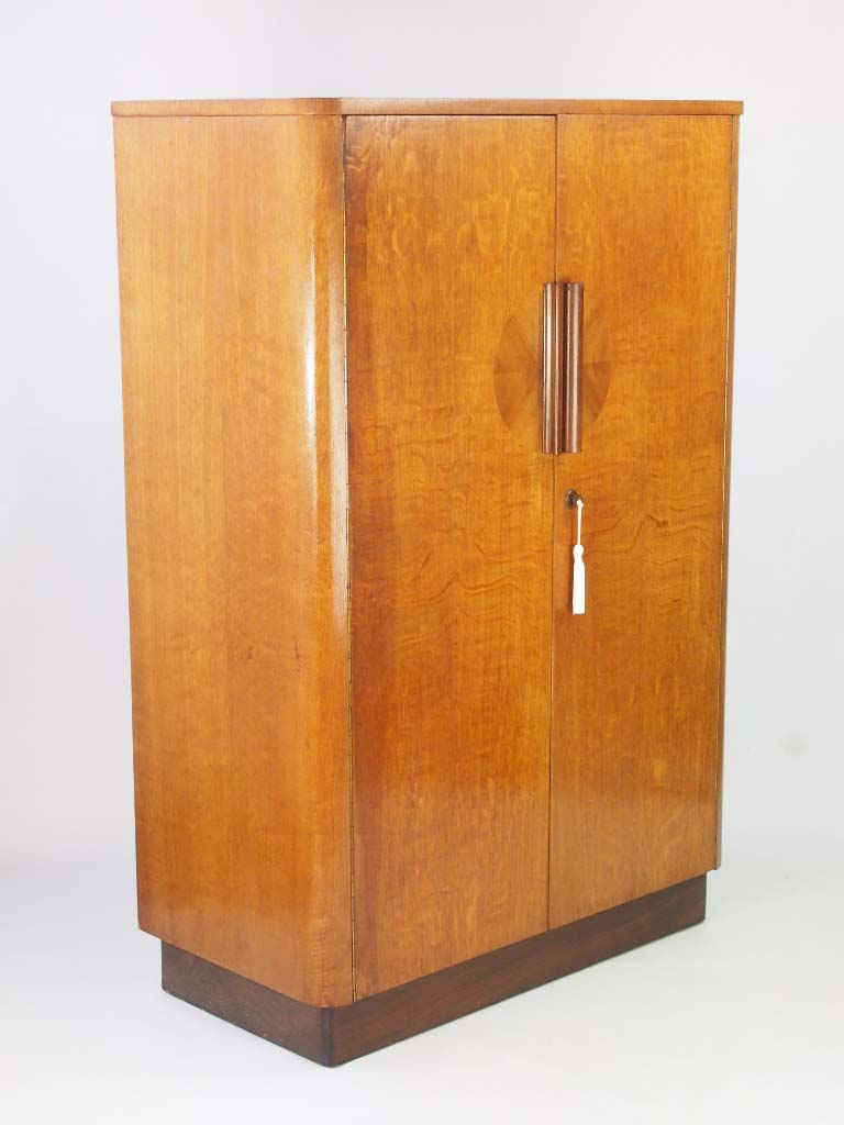 Small Art Deco Oak Wardrobe With Makers Label For Sale