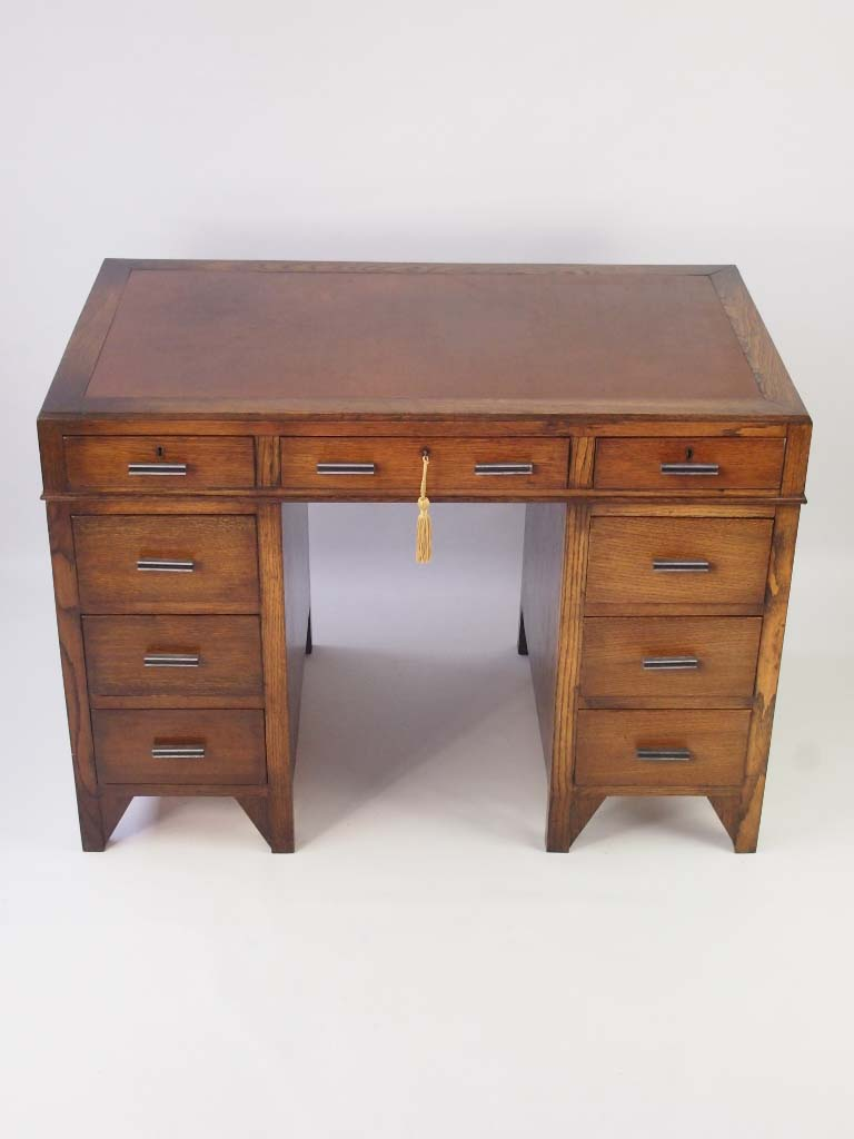 Small Art Deco Oak Pedestal Desk Circa 1920s For Sale