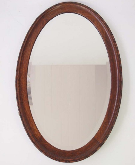 1920's Oval Oak Mirror