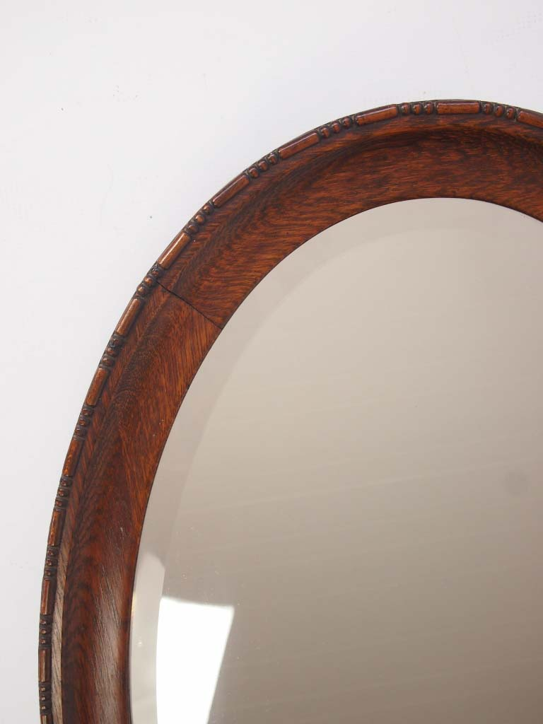 1920s Oak Oval Hall Mirror Overmantle Mirror For Sale