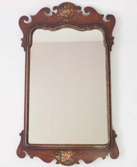 Antique Floral Painted Fretwork Mirror