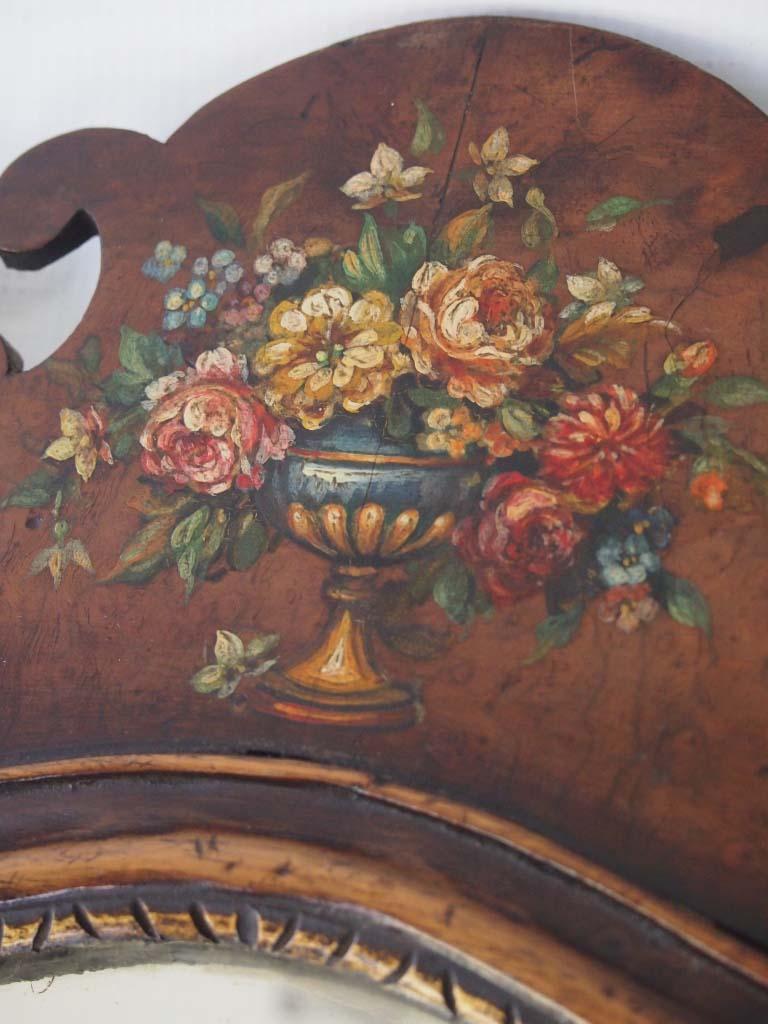 Antique Edwardian Floral Painted Fretwork Mirror For Sale