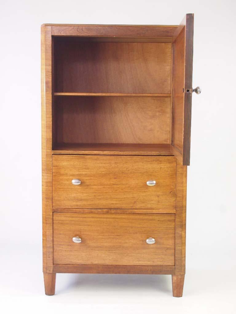 Art Deco Walnut Tallboy Cupboard On Chest For Sale