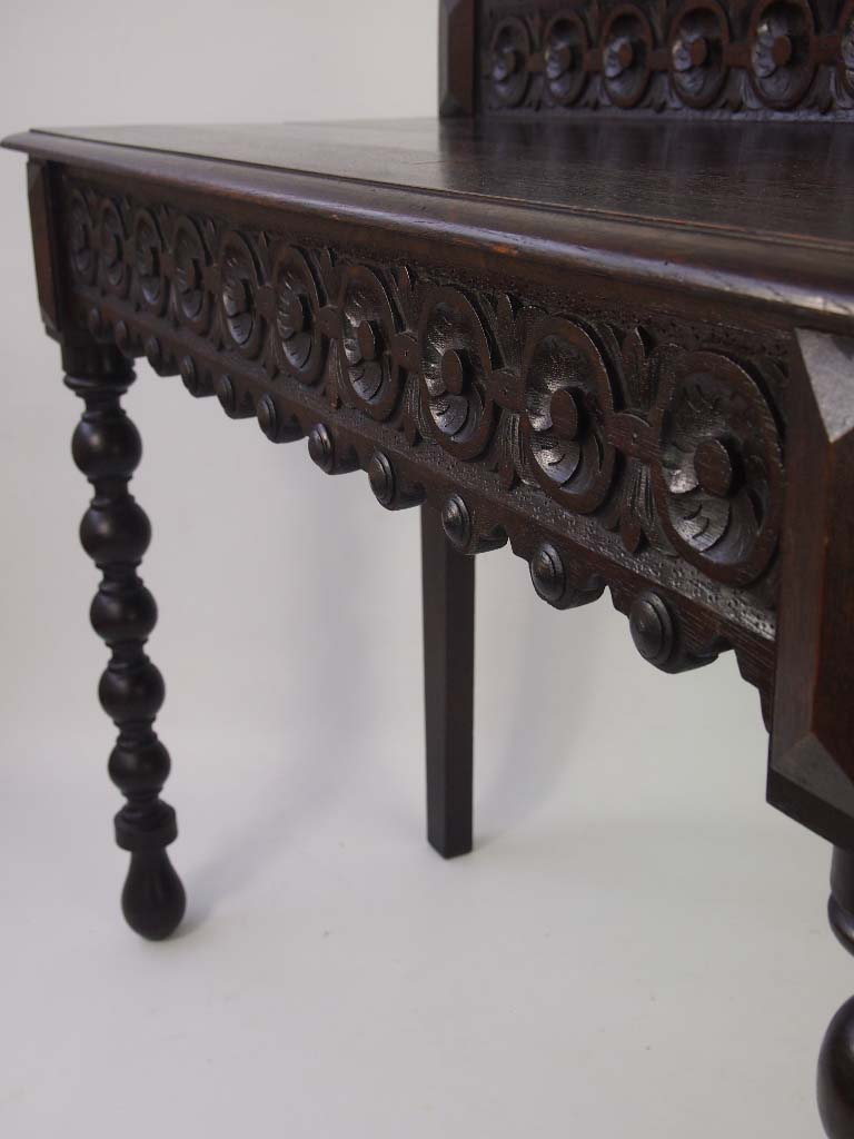 Antique Victorian Carved Oak Hall Table For Sale