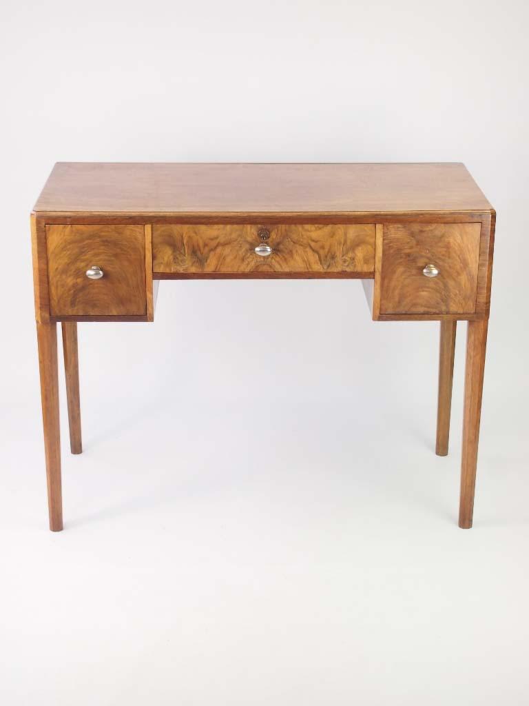 Small Art Deco Desk In Walnut For Sale