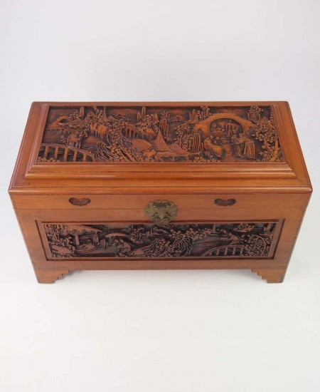 Vintage Carved Chinese Camphor Wood Chest