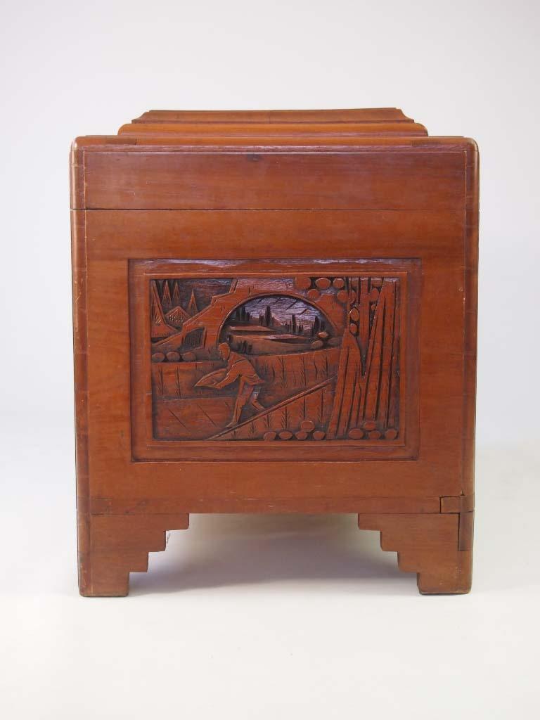 Vintage Carved Asian Camphor Wood Chest For Sale