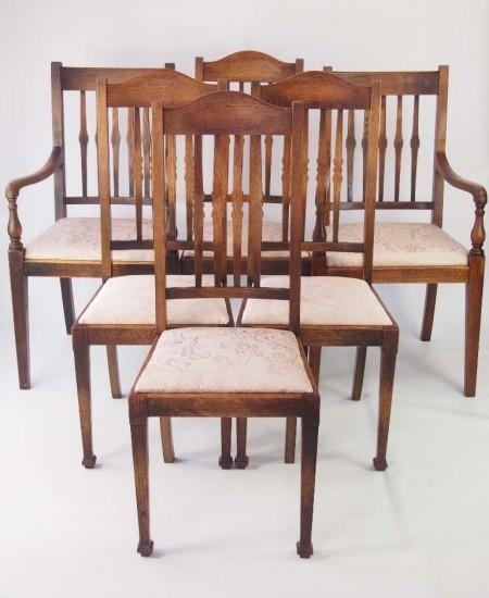 Harlequin Set 6 Vintage Oak Chairs