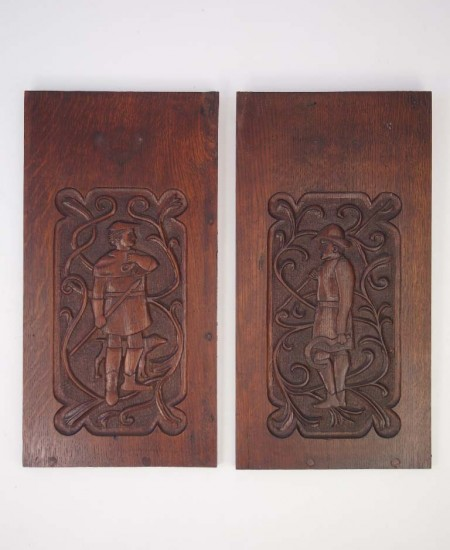 Pair Arts & Crafts Oak Hanging Panels