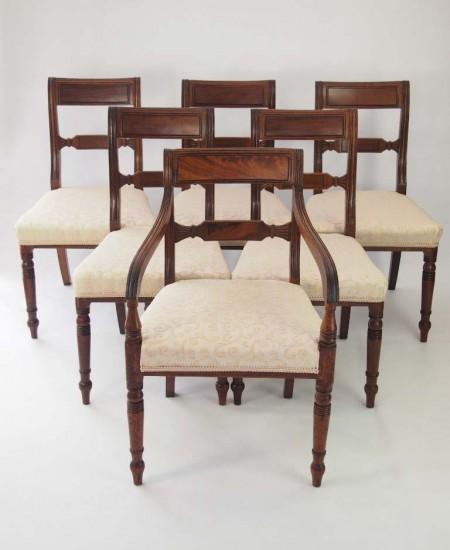 Set 6 Antique Regency Mahogany Chairs