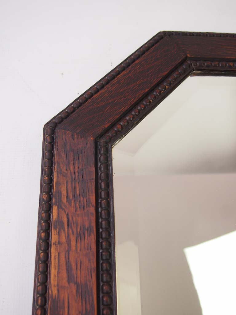 Large Art Deco Oak Framed Mirror For Sale