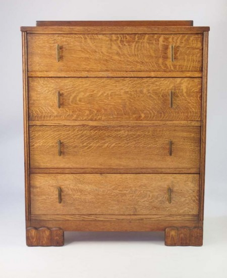 Small Art Deco Oak Chest Drawers