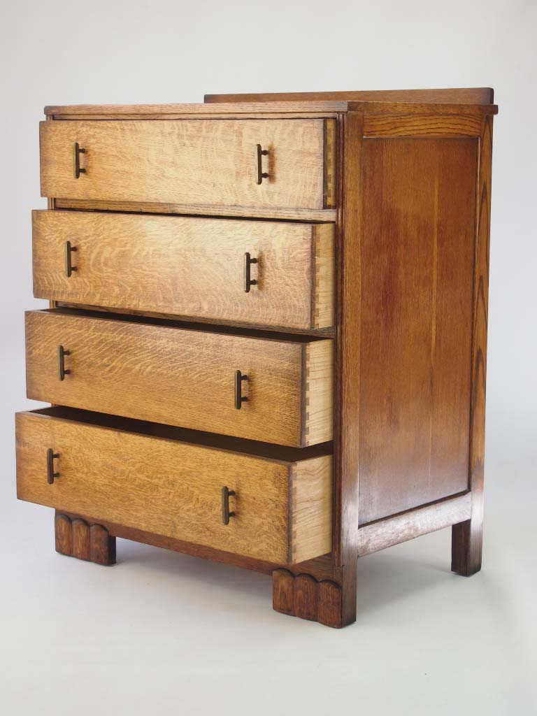 Small Art Deco Oak Chest Of Drawers Dated 1934