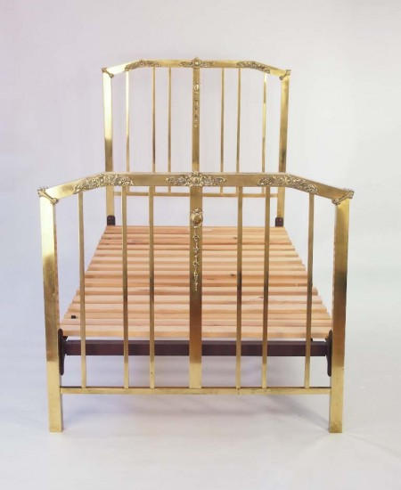 Pair Edwardian Brass Single Beds