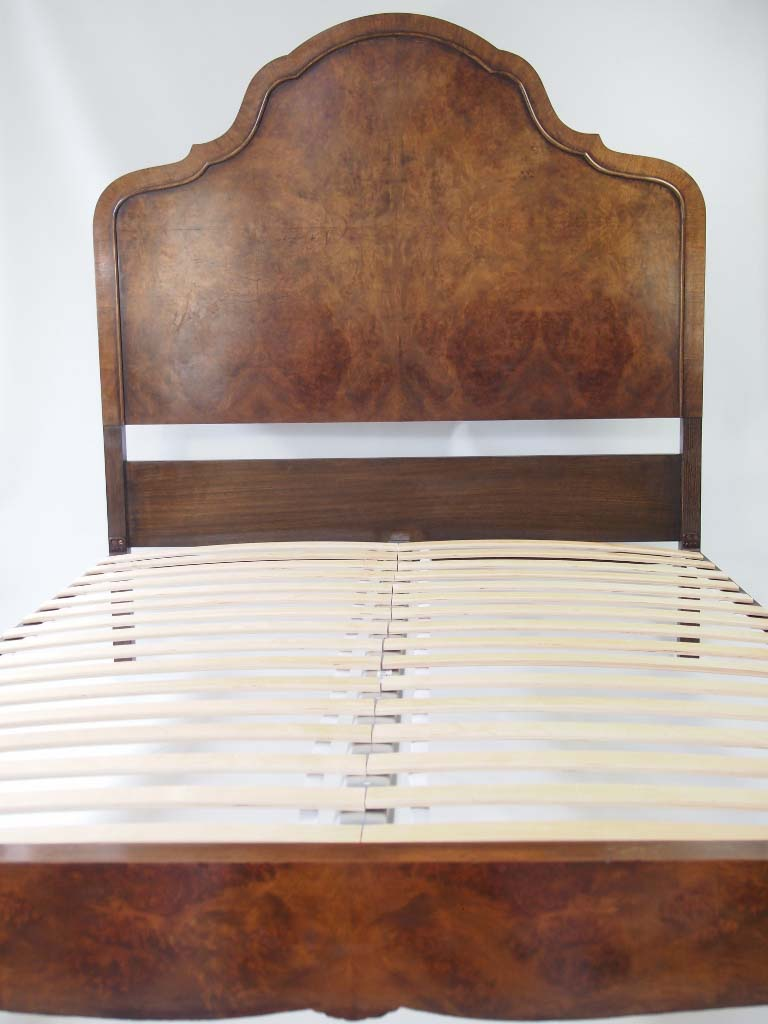 Vintage Burr Walnut Queen Anne Double Bed For Sale