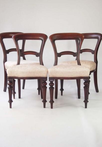 Set 4 Victorian Mahogany Balloon Back Chairs