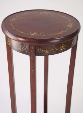 Antique Edwardian Floral Painted Plant Stand