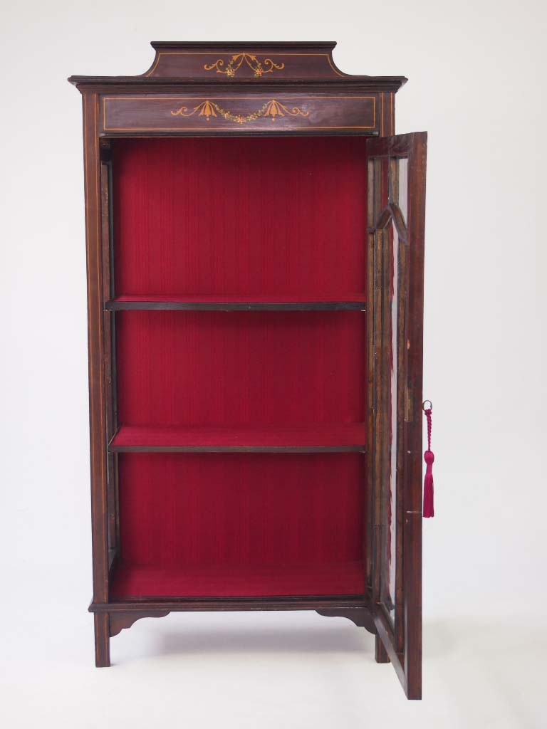 Small Edwardian Mahogany Cabinet Bookcase For Sale