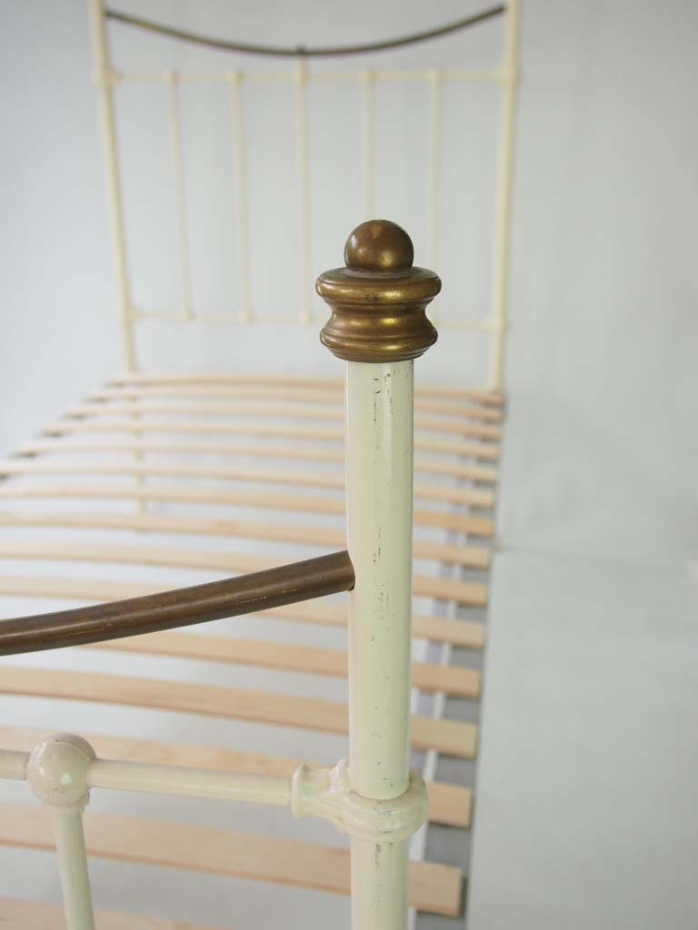 Antique Victorian Brass Amp Cream Painted Single Bed For Sale