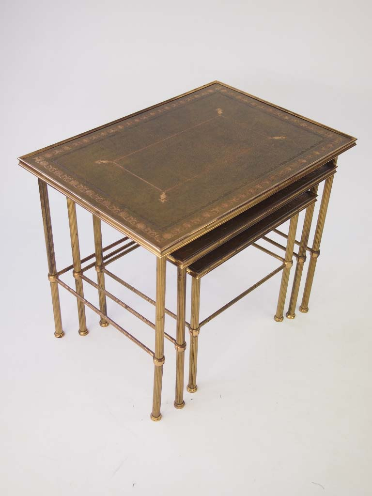 Vintage Nest Of Brass Tables For Sale