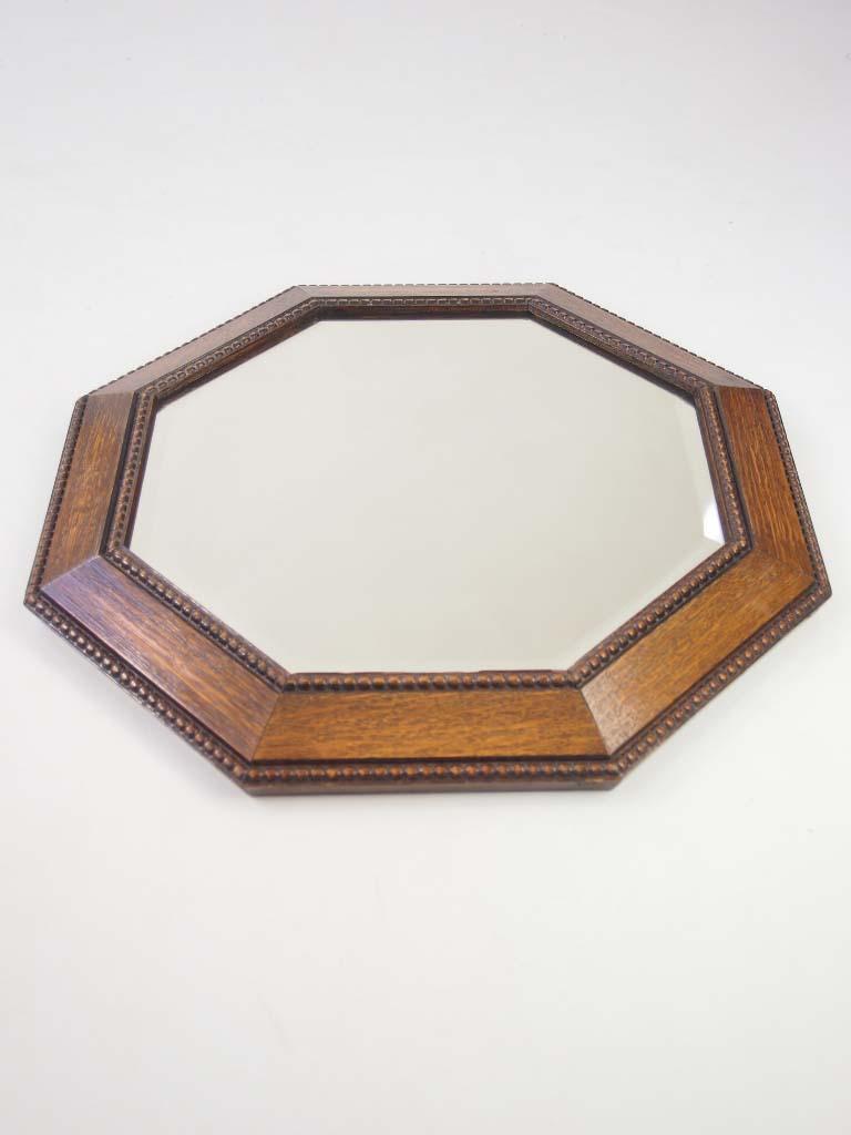 Hexagonal Oak Wall Mirror Circa 1920s For Sale
