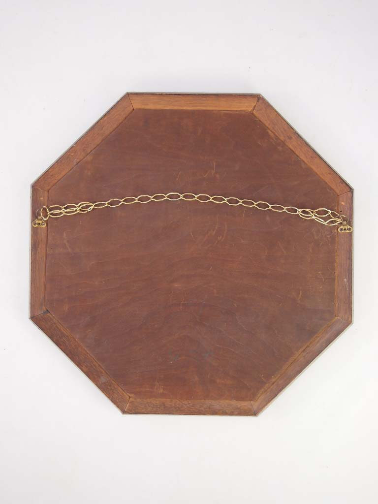 Hexagonal Oak Wall Mirror Circa 1920s For Sale