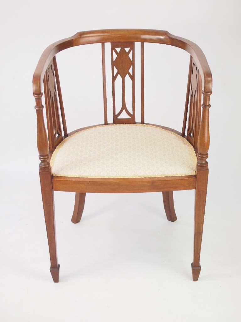 Pair Antique Edwardian Mahogany Tub Chairs For Sale