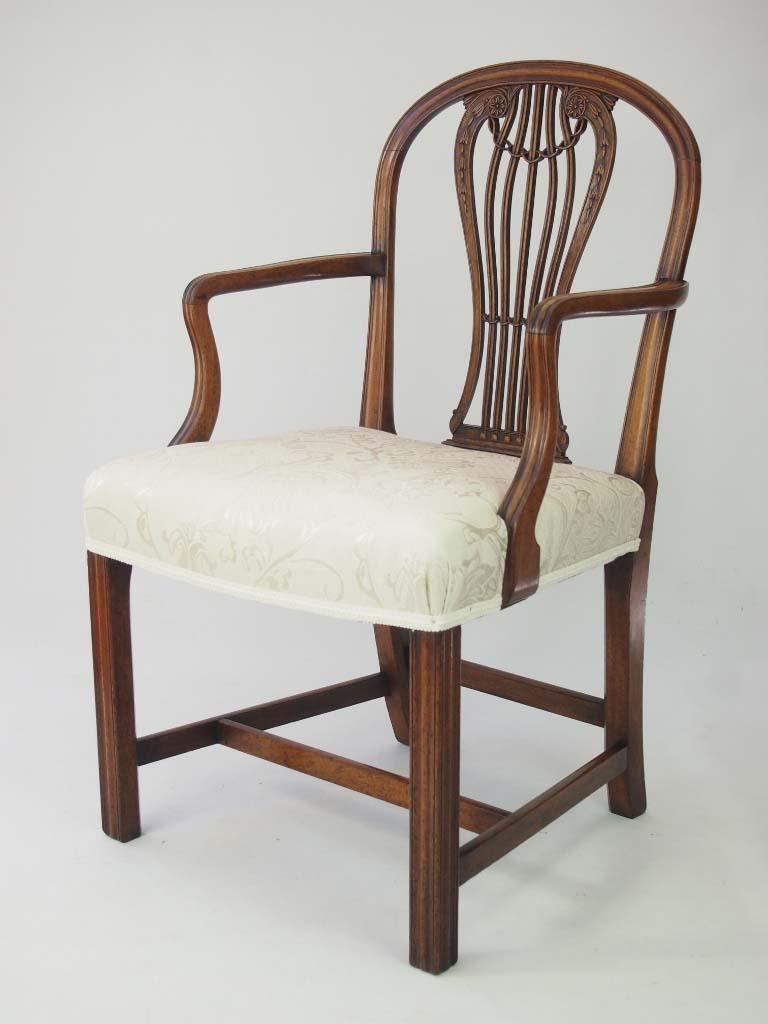 Antique Georgian Open Armchair Desk Chair For Sale