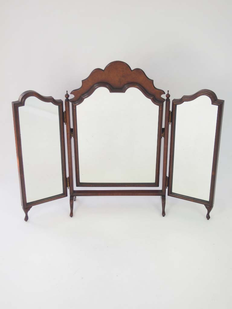 Walnut Triple Folding Dressing Table Mirror For Sale