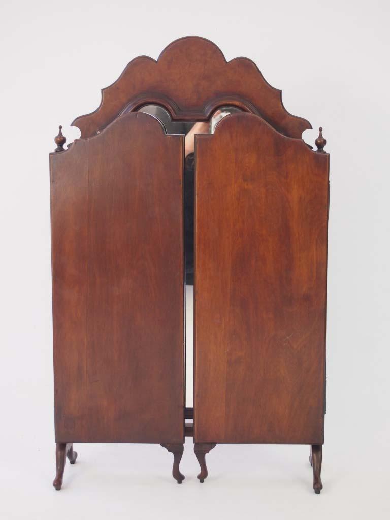 Walnut Triple Folding Dressing Table Mirror For Sale