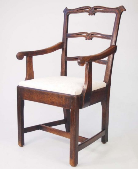 Late XVIII Century Oak Ladder Back Chair