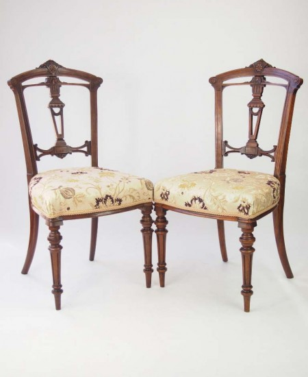 Pair Late Victorian Walnut Balloon Back Chairs