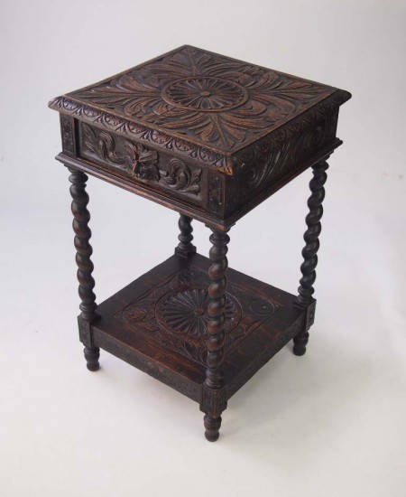 Antique Victorian Gothic Oak Side Table