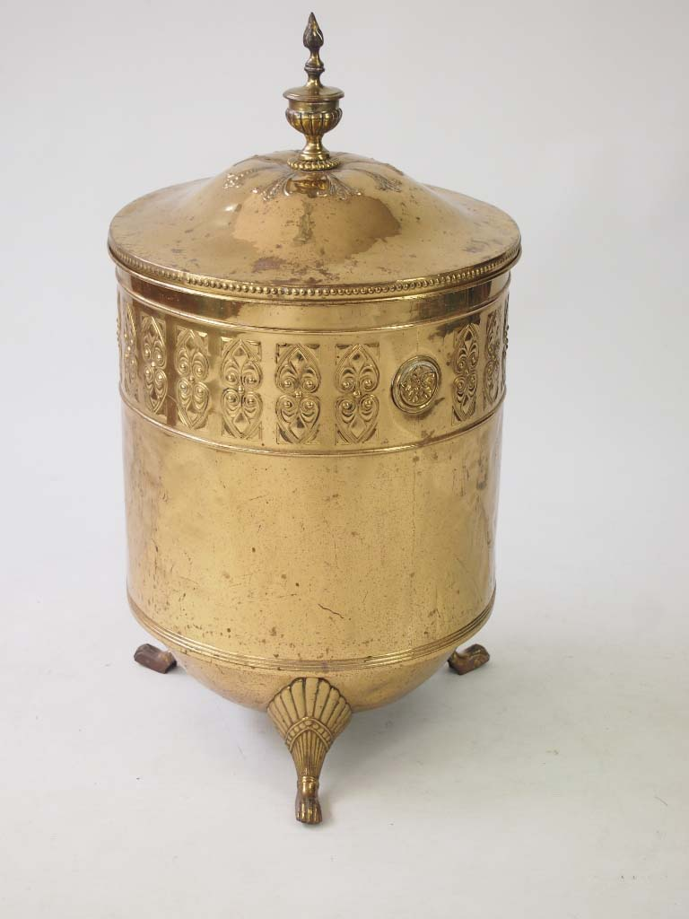 antique edwardian brass log bin    coal bucket